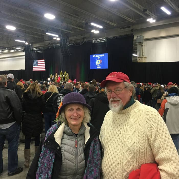 Jerry and Pat Rako at Tuesday's rally in West Allis..