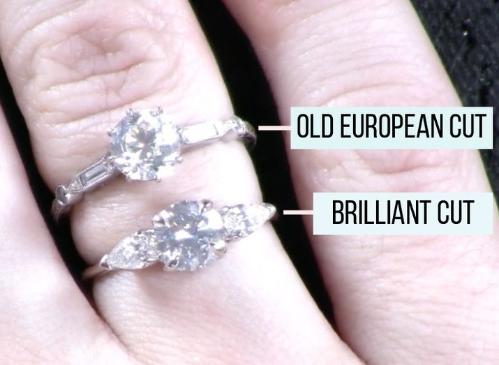 Round brilliant and old European cuts both have either 57 or 58 facets, but the placement of those facets gives each cut a unique look, according to jewelry brand Erstwhile. While vintage diamonds were cut for color, modern round brilliant diamonds are cut for sparkle.