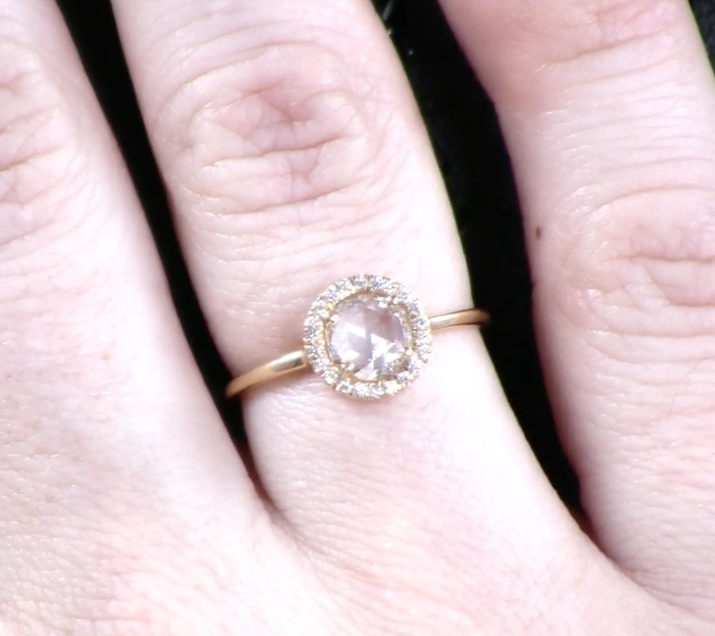 """You know how we said that brilliant cut diamonds have that pointy bottom? Well, a rose cut has a flat bottom, which means that the stone can have a large appearance while still weighing considerably less. """"Prices tend to go down on a rose cut stone since you're getting less carat weight,"""" jewelry designer Anna Sheffield told BuzzFeed."""