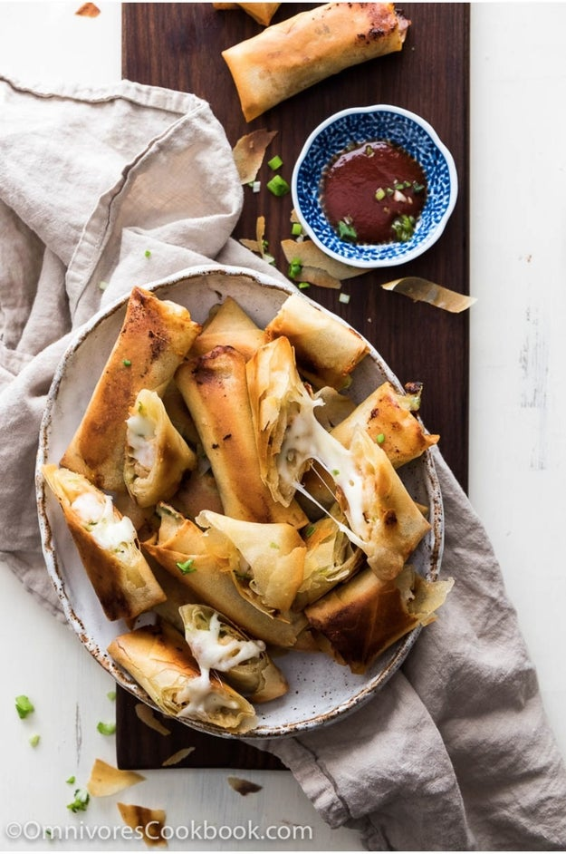 Cheesy Shrimp Baked Spring Rolls