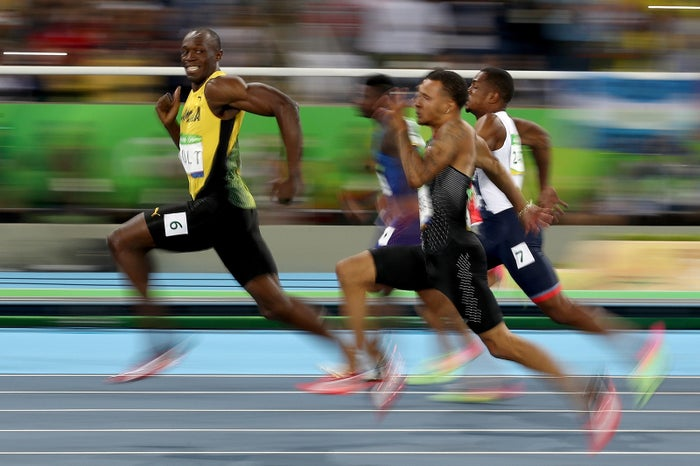 Usain Bolt of Jamaica competes in the Men's 100 meter semifinal on Day 9 of the Olympic Games at the Olympic Stadium, Aug. 14, 2016, in Rio de Janeiro.