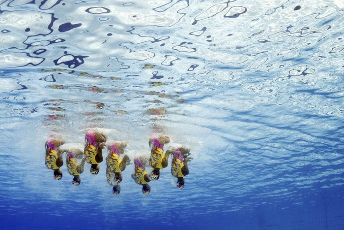 Team Japan competes in Synchronized Swimming at the 2016 Summer Olympics, Aug. 19, 2016, in Rio de Janeiro.