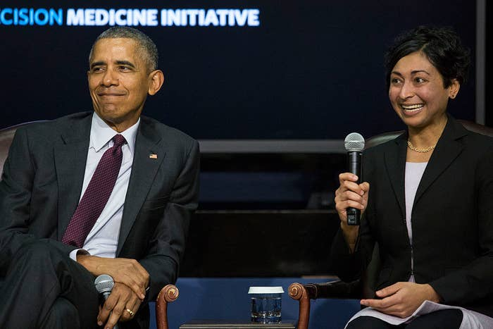 President Barack Obama and Sonia Vallabh at the White House Precision Medicine Initiative Summit.