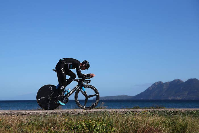 Chris Froome, ciclista británico de Team Sky, entrena en Mallorca en enero.
