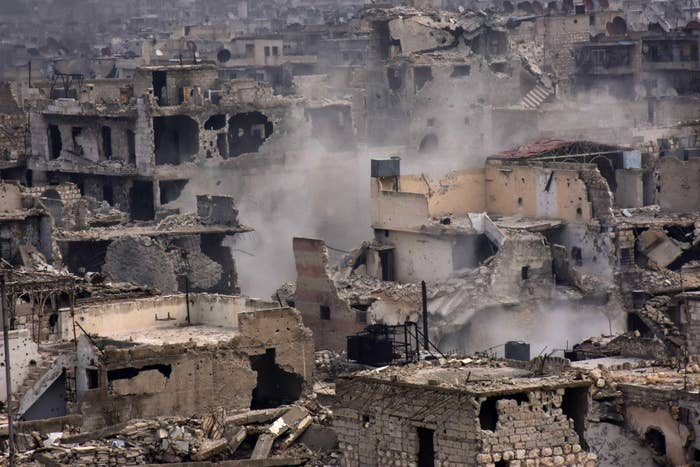 Destroyed buildings in eastern al-Shaar neighborhood.