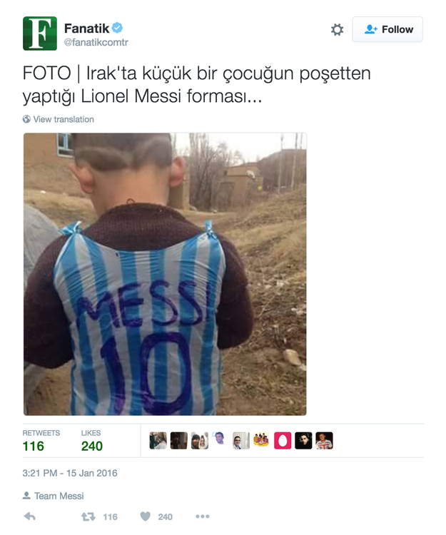 A photo of a little boy wearing a blue and white plastic bag made to resemble Lionel Messi's Argentina jersey was widely shared earlier this year.
