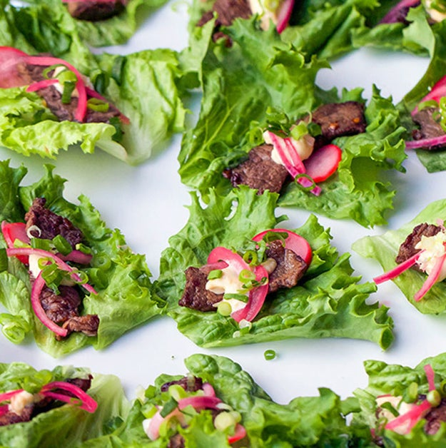 Korean Beef Lettuce Wraps With Pickled Onions, Radishes, and Miso Mayonnaise