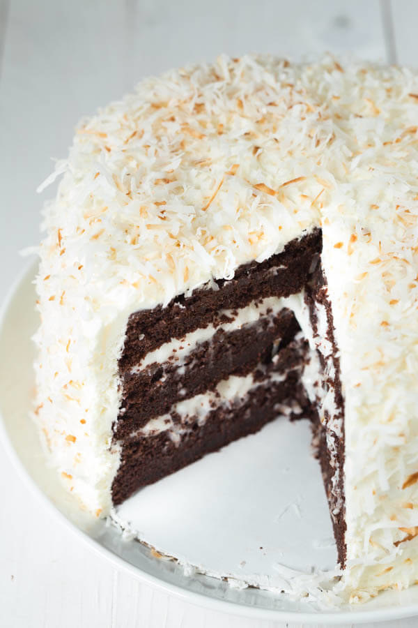 Chocolate Cake With Coconut Cream and Marshmallow Frosting
