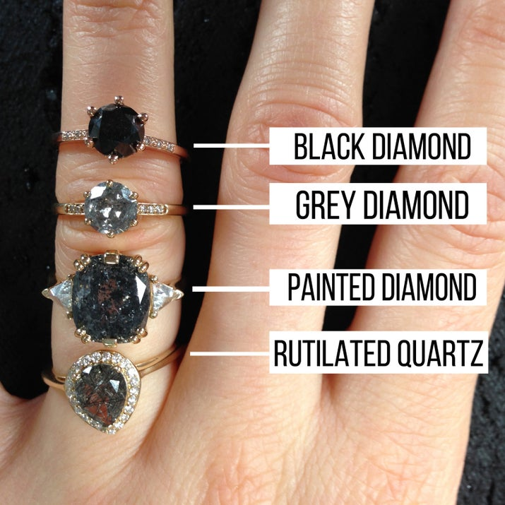 The rutilated quartz stone (pictured above) has black turmaline crystals inside of it, which gives it that mock grey diamond feel. Since quartz is a semi-precious stone, it will cost considerably less than a diamond. Black diamonds also tend to be less expensive than white diamonds as they are *imperfect*.