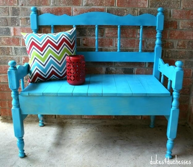 Turn an old headboard into a cute entryway bench that'll liven up your front porch.