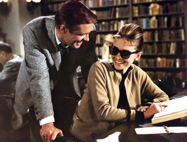 George Peppard and Audrey Hepburn on the set of Breakfast at Tiffany's, based on the novel by Truman Capote and directed by Blake Edwards.