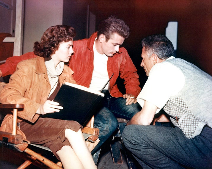 Natalie Wood, James Dean, and director Nicholas Ray on the set of Rebel Without a Cause.
