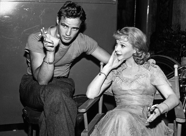 Actors Marlon Brando and Vivien Leigh relax on the set of A Streetcar Named Desire.