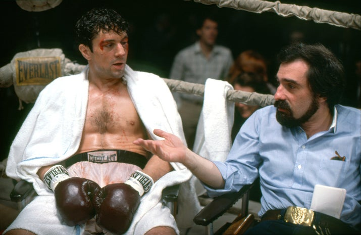 Actor Robert De Niro chats with director Martin Scorsese on the set of Raging Bull, based on the book by Jake LaMotta.