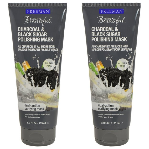 Freeman Charcoal & Black Sugar Polishing Mask, a purifying mask that exfoliates skin and detoxifies pores.