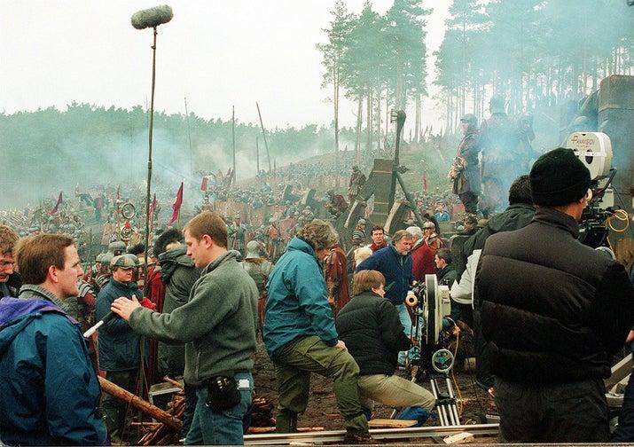 Film set of the movie Gladiator, Bourne Wood, England.