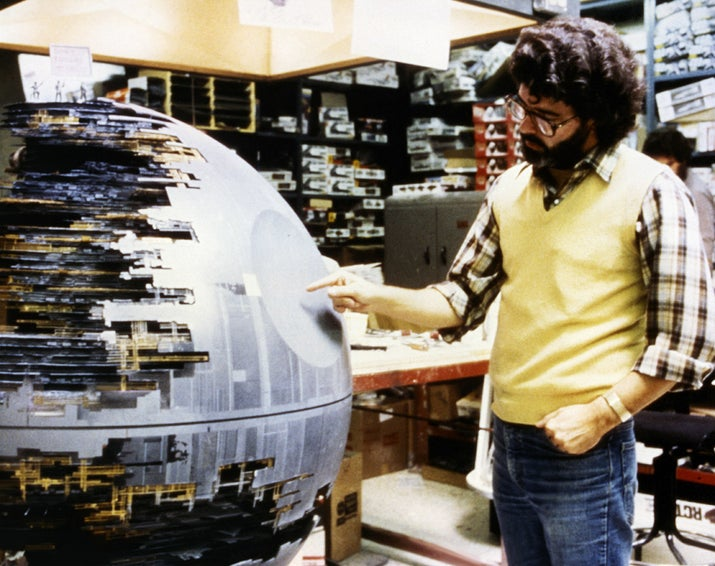 George Lucas inspecting the fully operational Death Star.