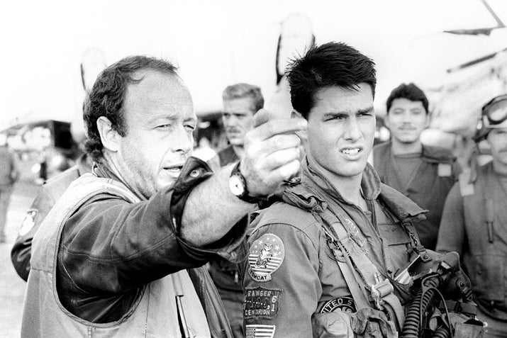 Tom Cruise with director Tony Scott on the set of Top Gun.
