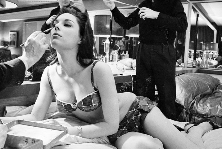 Tracy Reed being made up before shooting begins on the set of the film Dr. Strangelove or: How I Learned to Stop Worrying and Love the Bomb.