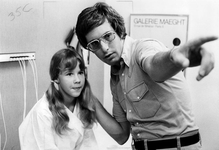 Actor Linda Blair and director William Friedkin during the making of The Exorcist.