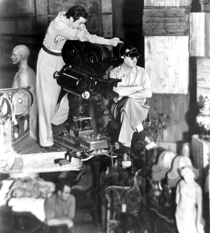 Director, screenwriter, producer, and actor Orson Welles on the set of Citizen Kane.