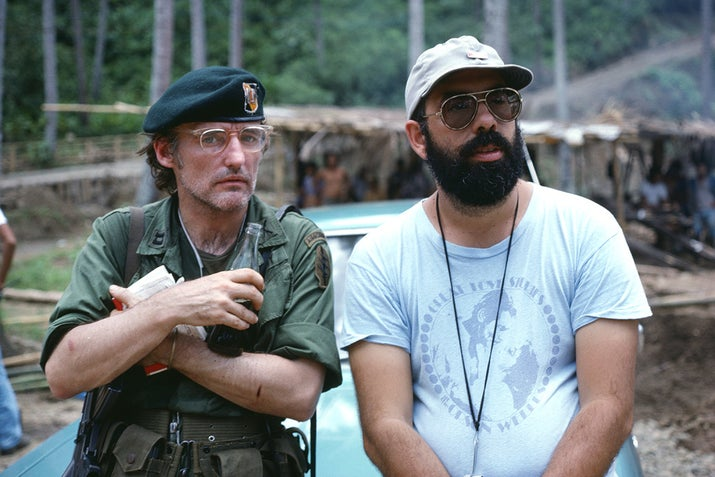 Actor Dennis Hopper with director Francis Ford Coppola on the set of Apocalypse Now, based on Joseph Conrad's novel Heart of Darkness.