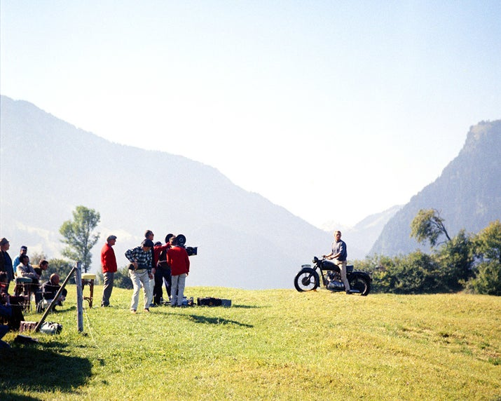 A film crew ready to shoot Steve McQueen's motorcycle escape sequence on the set of The Great Escape, directed by John Sturges, in Bavaria, Germany.