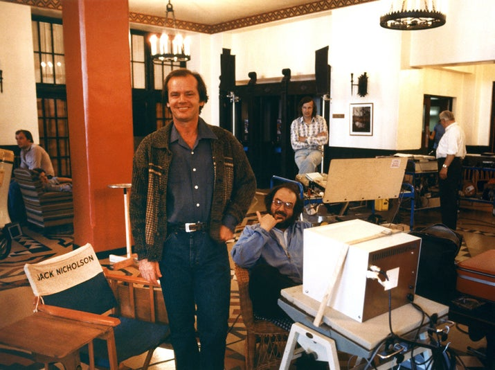 Actor Jack Nicholson and director Stanley Kubrick on the set of The Shining, based on the novel by Stephen King.