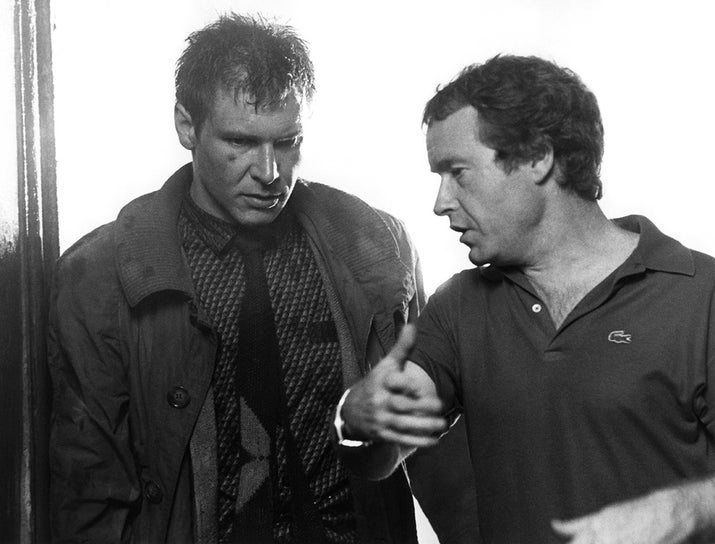Actor Harrison Ford and director Ridley Scott on the set of Blade Runner.