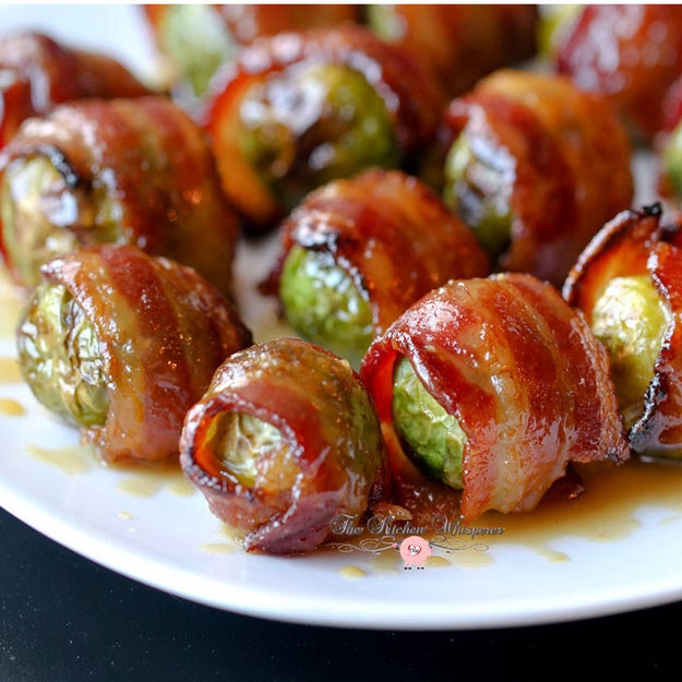 Candied Bacon-Wrapped Brussels Sprouts With Maple Dijon Glaze