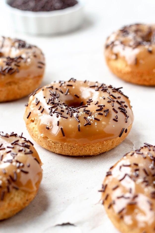Baked Orange Doughnuts with Salted Caramel Glaze
