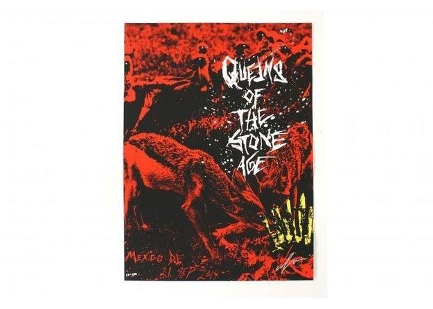 Esta litografía de Queens of the Stone Age que sí, fue hecha por un mexicano ($800).