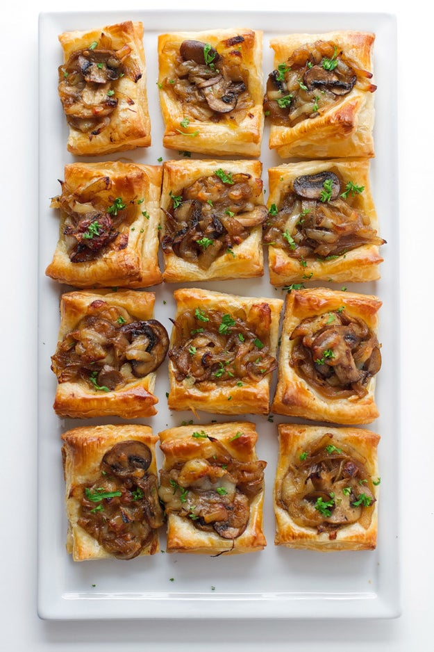 Gruyere Mushroom and Caramelized Onion Bites