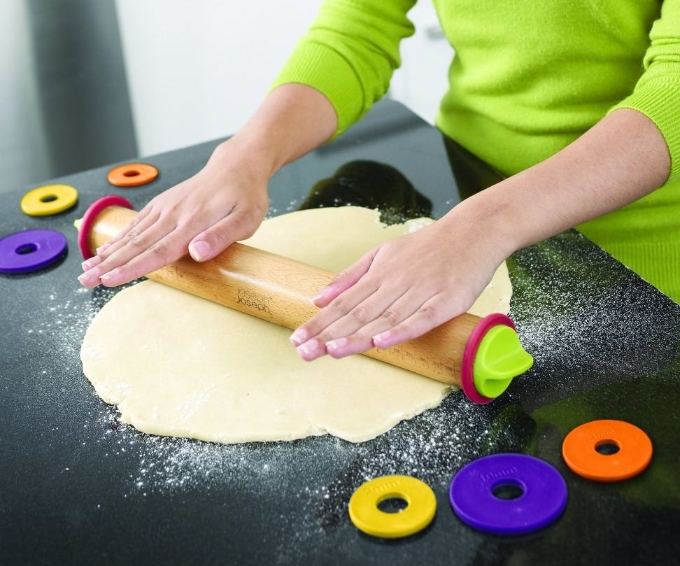 Perfect a pie recipe with an adjustable rolling pin that helps you roll out dough to the perfect thickness.