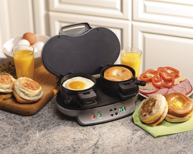 A Hamilton Beach dual breakfast sandwich maker that pops out two made-to-order BEC's in five minutes flat.