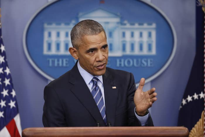 President Obama speaks during his final scheduled news conference of the year.