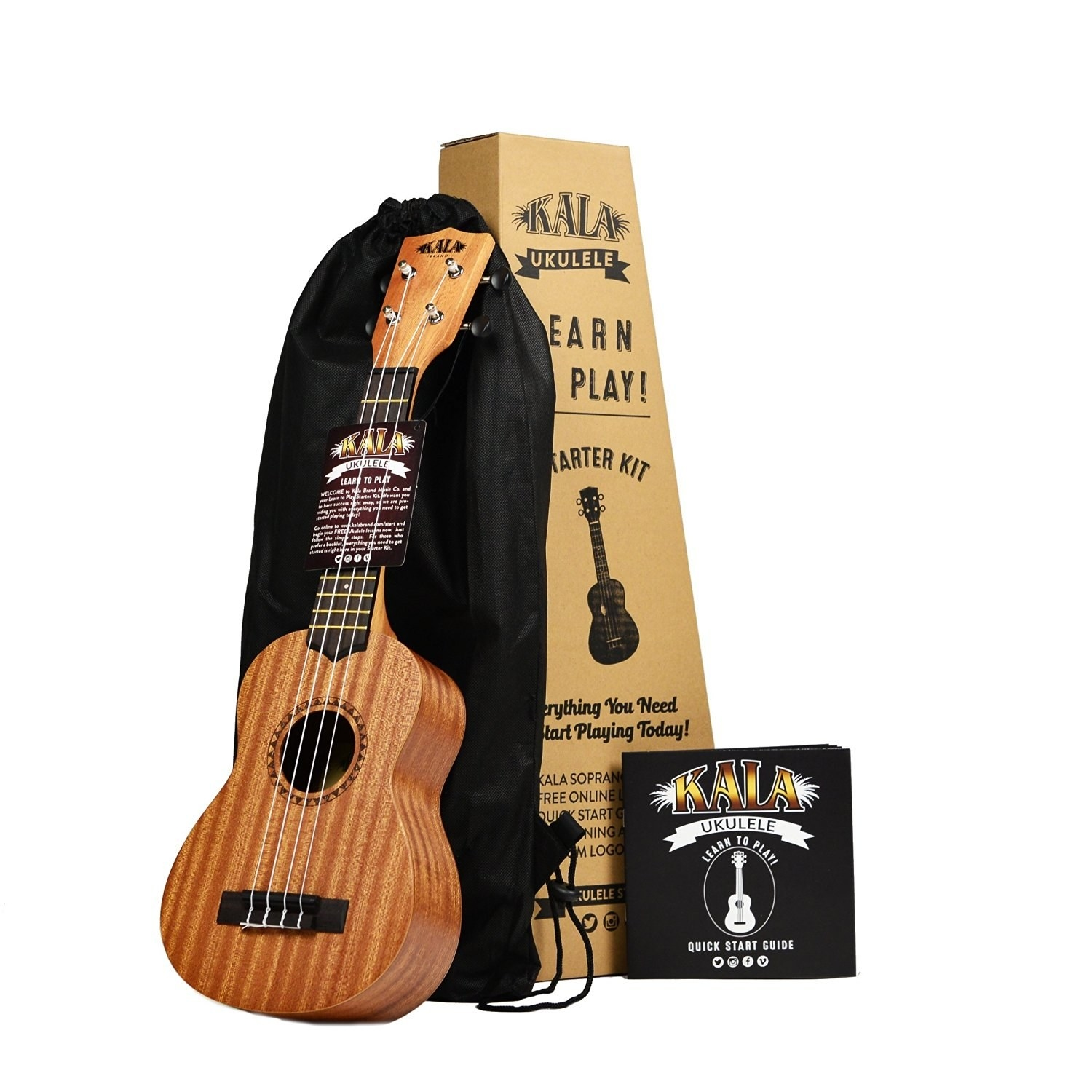 An awesome ukulele starter kit that comes with a Kala ukulele, tote bag,  and helpful playing guide.