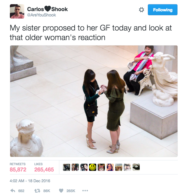 When her excited 22-year-old brother, Carlos Jair Rodriguez, shared a picture of the proposal on Twitter, it quickly went viral and gained over 265,400 likes and 85,870 retweets.