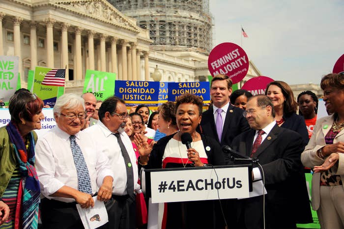 Rep. Barbara Lee introducing the EACH Woman Act in 2015.
