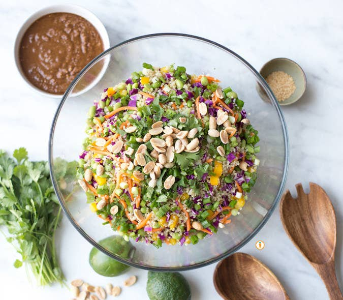 """This recipe for Thai Quinoa Salad is a hit, no matter where I go. It's perfect for weekday lunches or as a side or for sharing at a potluck. Specifically, the addition of edamame beans (usually found in the frozen section of the grocery store) makes this salad hearty enough to be a meal. A ½ cup serving of edamame beans offers about 12 grams of protein. Score!""Get the recipe here.—Nita Sharda, RD, owner of Carrots and Cake Balanced Nutrition Consulting"