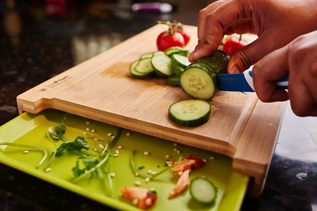 Easily transfer chopped ingredients to your dish with this super-convenient bamboo cutting board–tray combo.