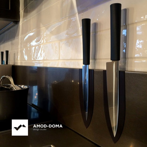 Store your best knives exactly where you need them with a set of magnetic stickers.