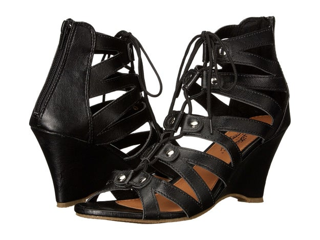 Charles Albert wedge sandals that lace up for easy wear.
