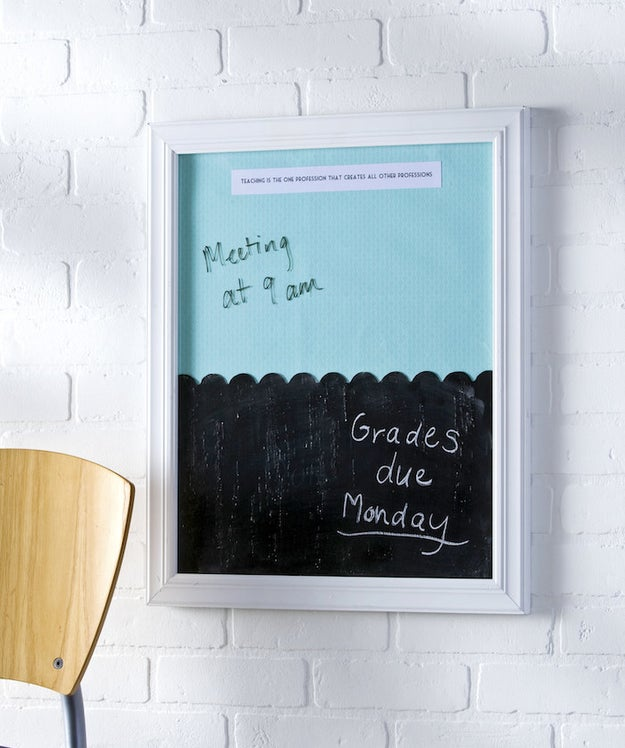 Create an organized office area with a cute memo board that double tasks as a dry-erase board and chalkboard.