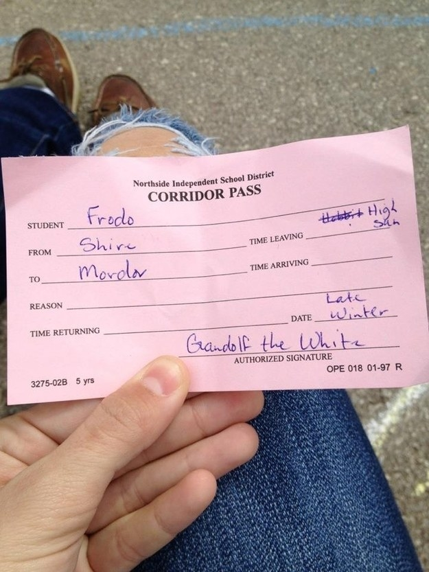 The teacher who gave out the best hall pass ever: