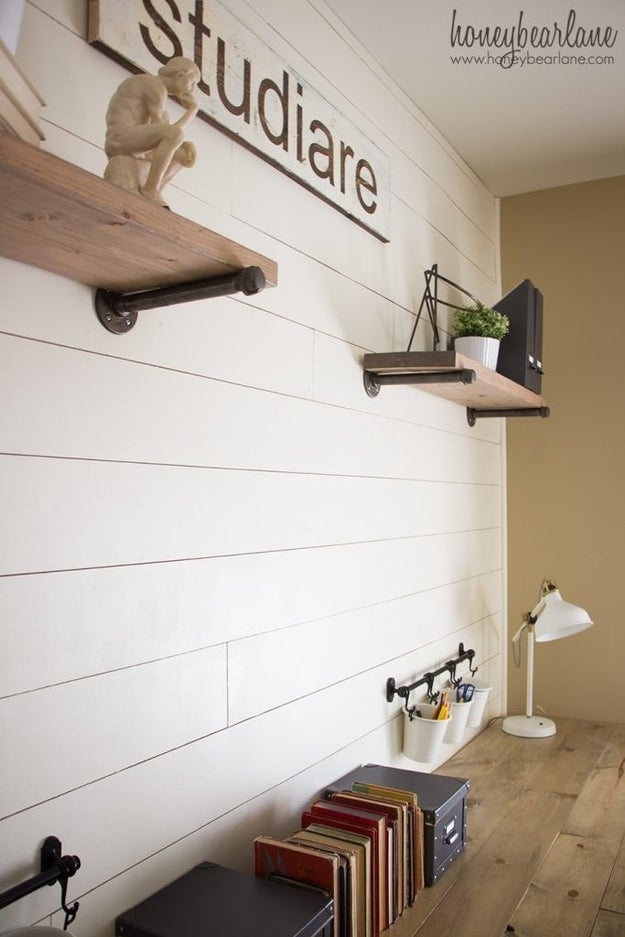 Update an old wall with budget shiplap for less than $50.