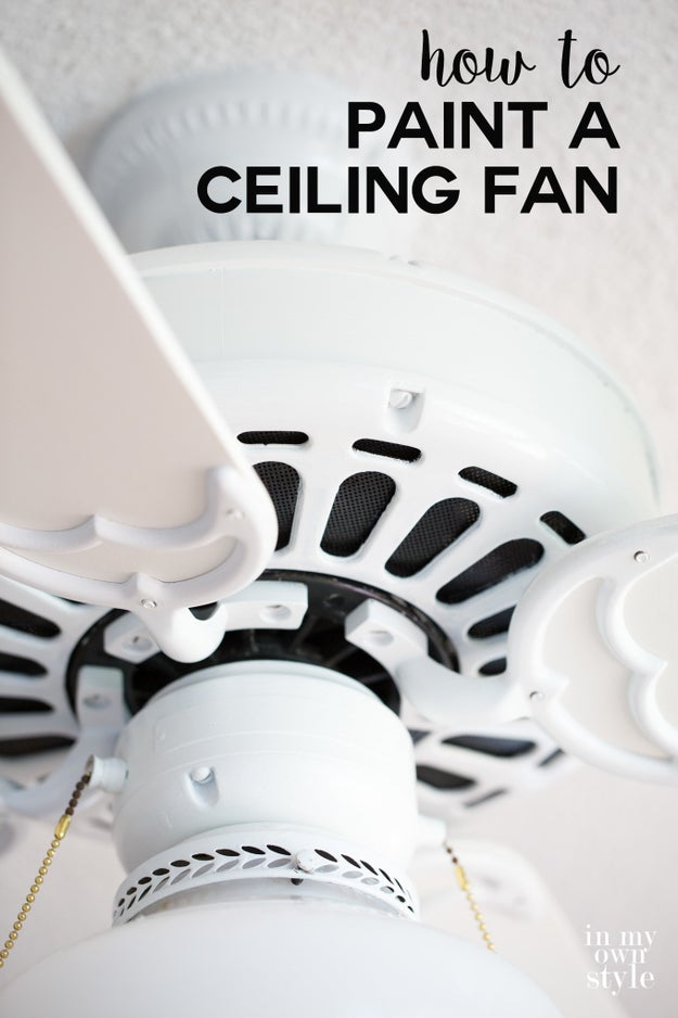 Paint an old ceiling fan -- without removing it from the ceiling -- a modern shade instead of shelling out for a new one.