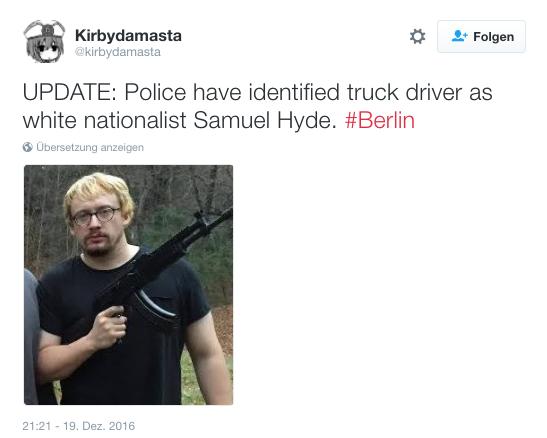 Das Foto dieses Mannes wird auch auf Twitter geteilt. Er hat nichts mit dem Attentat heute in Berlin zu tun.