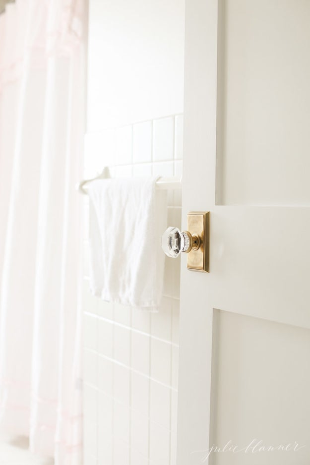 Swap builder-grade doorknobs for a jewel-like doorknob to seriously elevate a plain door.