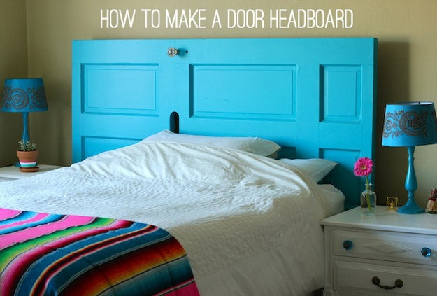 Create a sense of space in the bedroom with a salvaged door headboard that'll make your existing bedroom decor POP.